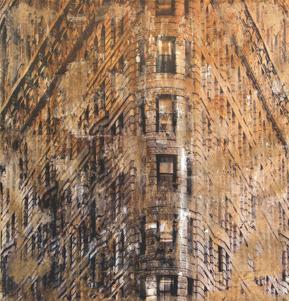 """SOLD - """"FLatiron building"""" - Mixed media, collage and acrylic paint on paper on canvas - 61x61cm"""