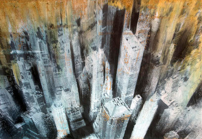 SOLD - New York 11 - Mixed media, collage and acrylic paint on paper on canvas - 113x81cm