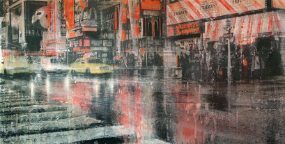 SOLD - Time Square 2 - 115x60cm - Mixed media, collage and acrylic paint on paper on canvas
