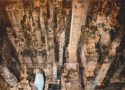 SOLD - New York 10 - Mixed media, collage and acrylic paint on paper on canvas - 115x81cm