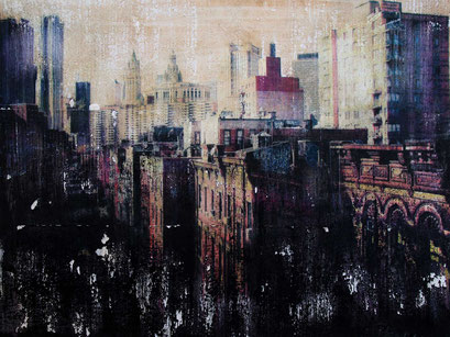 SOLD - New York 27 - Mixed media, collage and acrylic paint on paper on canvas 80x60 cm