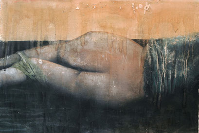AVAILABLE - Nude 9 - Acrylic on scratched double paper - 114x77cm - contact me
