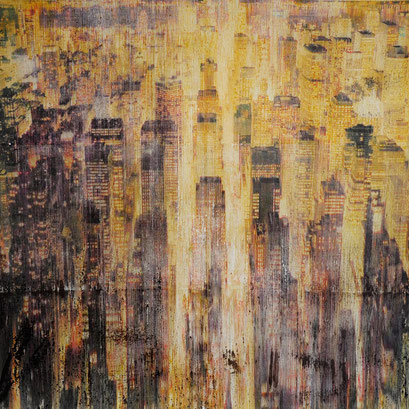 "SOLD -  ""New York 33"" - Mixed media, collage and acrylic paint on paper on canvas 80x80cm"