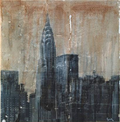 SOLD - Chrysler 1 - 70x70cm - Mixed media, collage and acrylic paint on paper on canvas