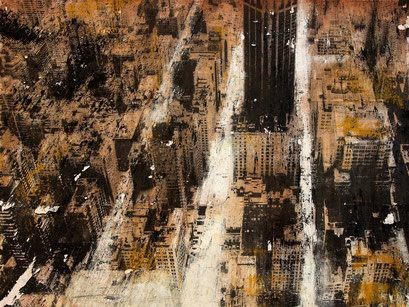 SOLD - New York 26 - Mixed media, collage and acrylic paint on paper on canvas 80x60 cm -