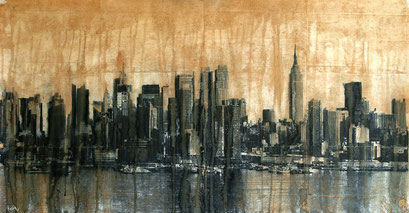 SOLD - NY5 - 114x60cm - Mixed media, collage and acrylic paint on paper on canvas
