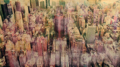 """AVAILABLE - """"New York 32"""" Mixed media, collage and acrylic paint on paper on canvas 140x80cm - contact me"""