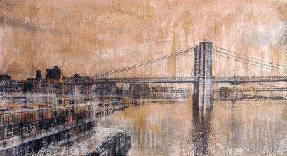 SOLD - Brooklyn Bridge 1 - 113x62cm - Mixed media, collage and acrylic paint on paper on canvas
