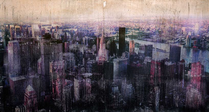 "AVAILABLE at LE DAME ART GALLERY LONDON - ""New York 30"" Mixed media, collage and acrylic paint on paper on canvas 112x60cm"