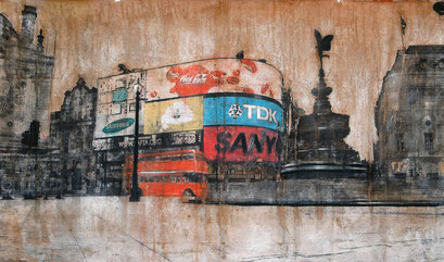SOLD - PiccadillyCircus 1 - 112x66cm - Mixed media, collage and acrylic paint on paper on canvas