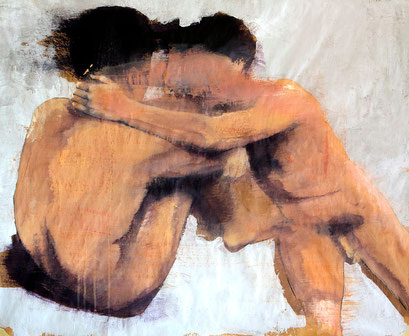 """SOLD -  """"Two nudes"""" acrylic on paper on canvas 73x60cm"""