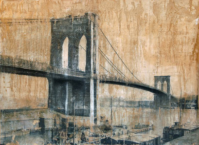 SOLD - Brooklyn Bridge 2 - 113x82cm - Mixed media, collage and acrylic paint on paper on canvas