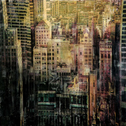 New York 101 - AVAILABLE - Mixed media, collage and acrylic paint on paper on canvas 155x155 cm - contact me