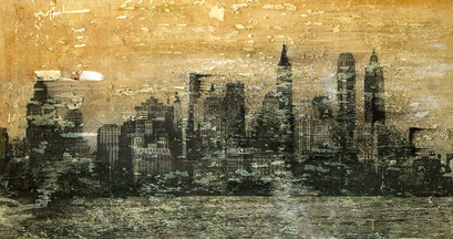 SOLD -New York 15 - Mixed media, collage and acrylic paint on paper on canvas 115x60cm