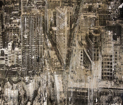 New York 25 - AVAILABLE - Mixed media, collage and acrylic paint on paper on canvas 99x85 cm - contact me