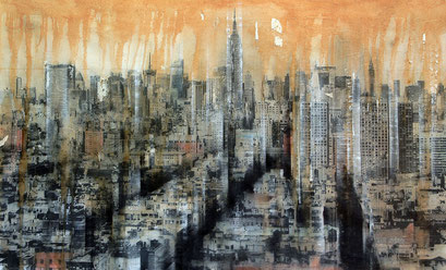 SOLD - NY6 - 112x72cm - Mixed media, collage and acrylic paint on paper on canvas