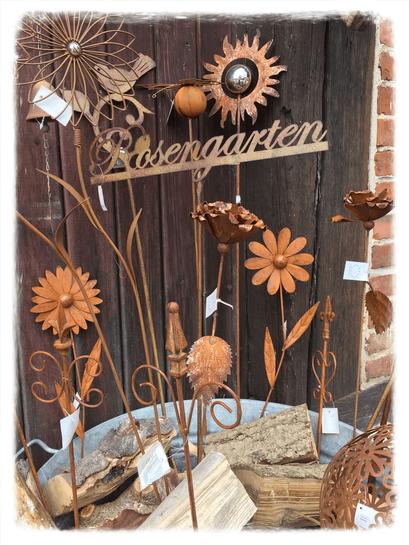 Landhausdekoration, Stecker, Rost, Gartendekoration, Gartendeko, Gartenstecker, Blume, Windmühle, Gartenschild