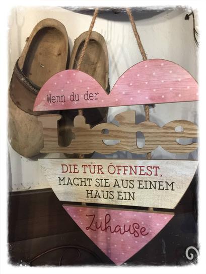 Holz Herz, Bild, Holz, Spruch, rosa, weiß, Clayre & Eef, Landhaus Stil, Shabby Chic, Vintage, Landhaus Dekoration mit Charme