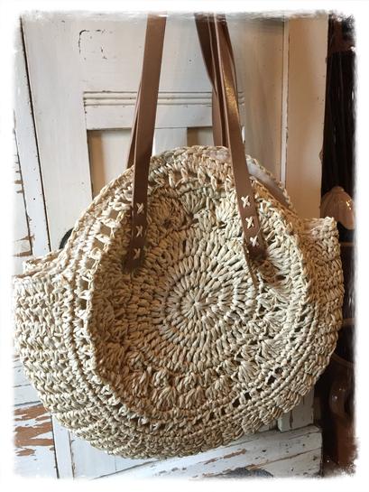 Strandtasche, beige, rund, Tasche, Clayre & Eef, Landhaus Stil, Shabby Chic, Vintage, Landhaus Dekoration mit Charme