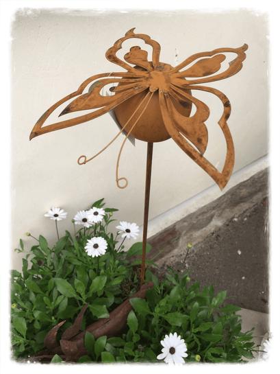 Landhausdekoration, Schmetterling, Stecker, Rost, Gartendekoration, Gartendeko, Gartenstecker