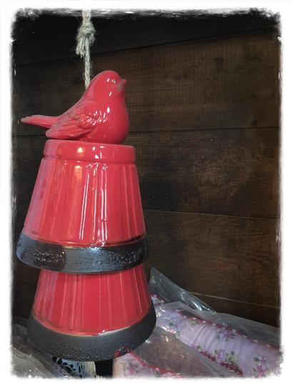 Windspiel, rot, Vogel, Glocken, Clayre & Eef, Landhaus Stil, Shabby Chic, Vintage, Landhaus Dekoration mit Charme