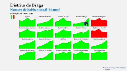 Distrito de Braga - Evolução comparada dos distritos (25-64 anos)
