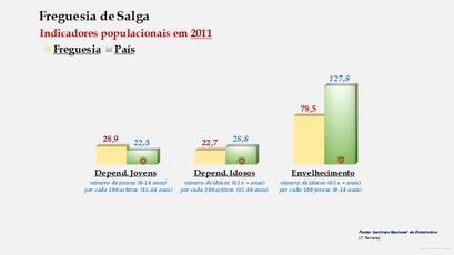 Salga - Índice de dependência de jovens, de idosos e de envelhecimento (2001 e 2011)