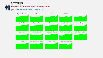 Arquipélago dos Açores - Proporção da população entre os 25 e os 64 anos - Evolução comparada dos concelhos