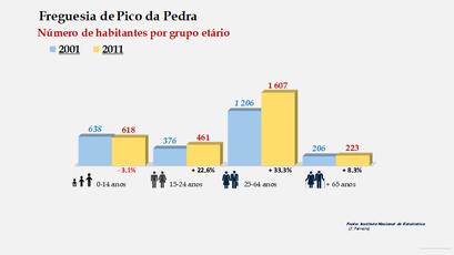 Pico da Pedra - Número de habitantes por grupo etário (2001-2011)