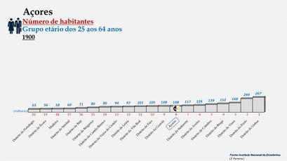 Arquipélago dos Açores - Posição ocupada em 1900 (25-64 anos)