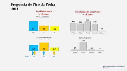 Pico da Pedra - Níveis de escolaridade da população com mais de 15 anos por sexo (2011)