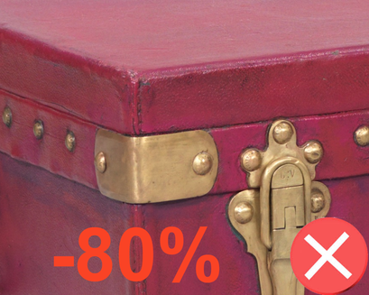 repainted Louis Vuitton canvas trunk red