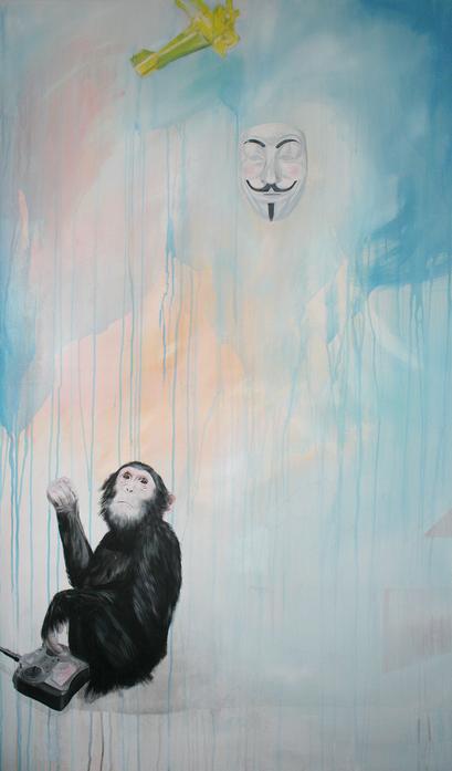 Chimp Fawkes, 2016, Acryl auf Leinwand, 100 x 170 cm