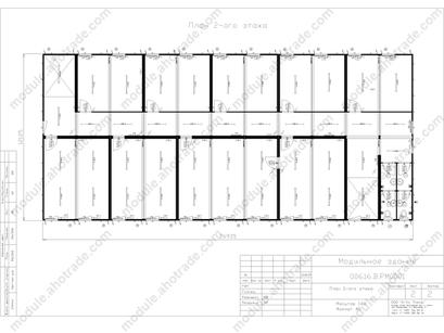 Планировка модульного здания containex, 616м2