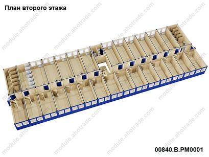 визуализация модульного здания containex, 2 этаж