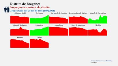 Distrito de Bragança – Evolução comparada da proporção de cada concelho face ao total da população (25-64 anos) do distrito