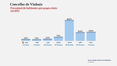 Vinhais - Percentual de habitantes por grupos de idades
