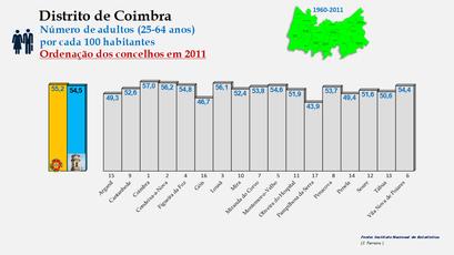 Distrito de Coimbra – Grupo etário dos 25 aos 64 anos em 2011