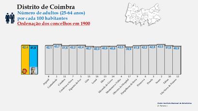 Distrito de Coimbra – Grupo etário dos 25 aos 64 anos em 1900