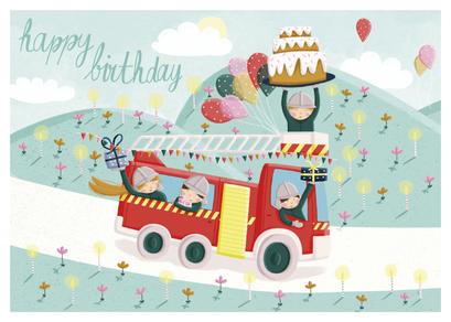 Carte d'anniversaire pompiers illustrée par Laetitia HAAS