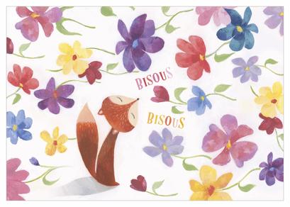 Carte bisous illustrée par Aurélie BLANZ