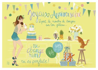 """Carte d'anniversaire """"ne change rien"""" illustrée par Audrey BUSSI et Elisa ROCHETAIN"""