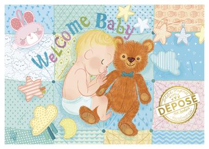 """Carte de naissance """"modèle déposé"""" illustrée par Audrey BUSSI et Elisa ROCHETAIN"""