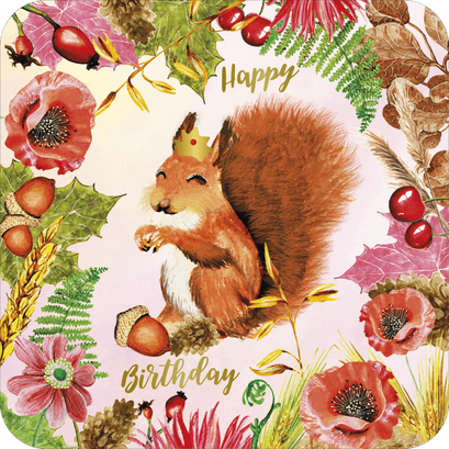 Carte postale écureuil finition or illustrée par Aurélie Muller, alias Le Poussin Rose des Bois