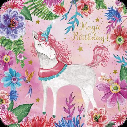 Carte postale licorne finition or illustrée par Aurélie Muller, alias Le Poussin Rose des Bois