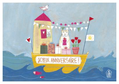 Carte d'anniversaire illustrée par Les Mamouchkas