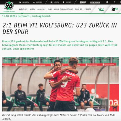 - 11.10.2020 - 2:1 beim VfL Wolfsburg: U23 zurück in der Spur