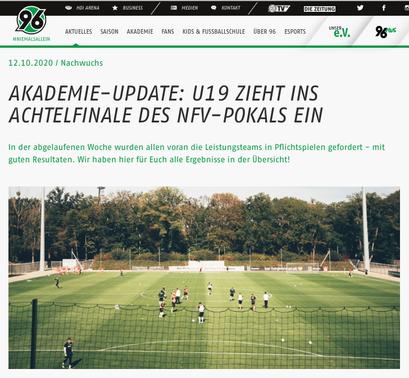 - 12.10.2020 - Akademie-Update: U19 zieht ins Achtelfinale des NFV-Pokals ein