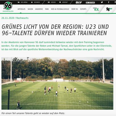 - 26.11.2020 - Gründes Licht von der Region: U23 und 96-Talente dürfen wieder trainieren