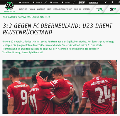 - 26.09.2020 - 3:2 gegen FC Oberneuland: U23 dreht Pausenrückstand